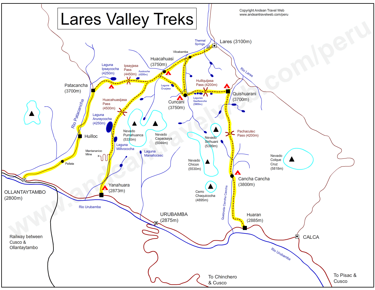 Map of the Lares Valley showing the various trekking route options