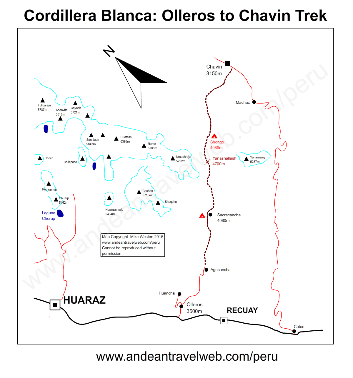 Map showing the route of the Olleros to Chavin trek in the Cordillera Blanca, Peru