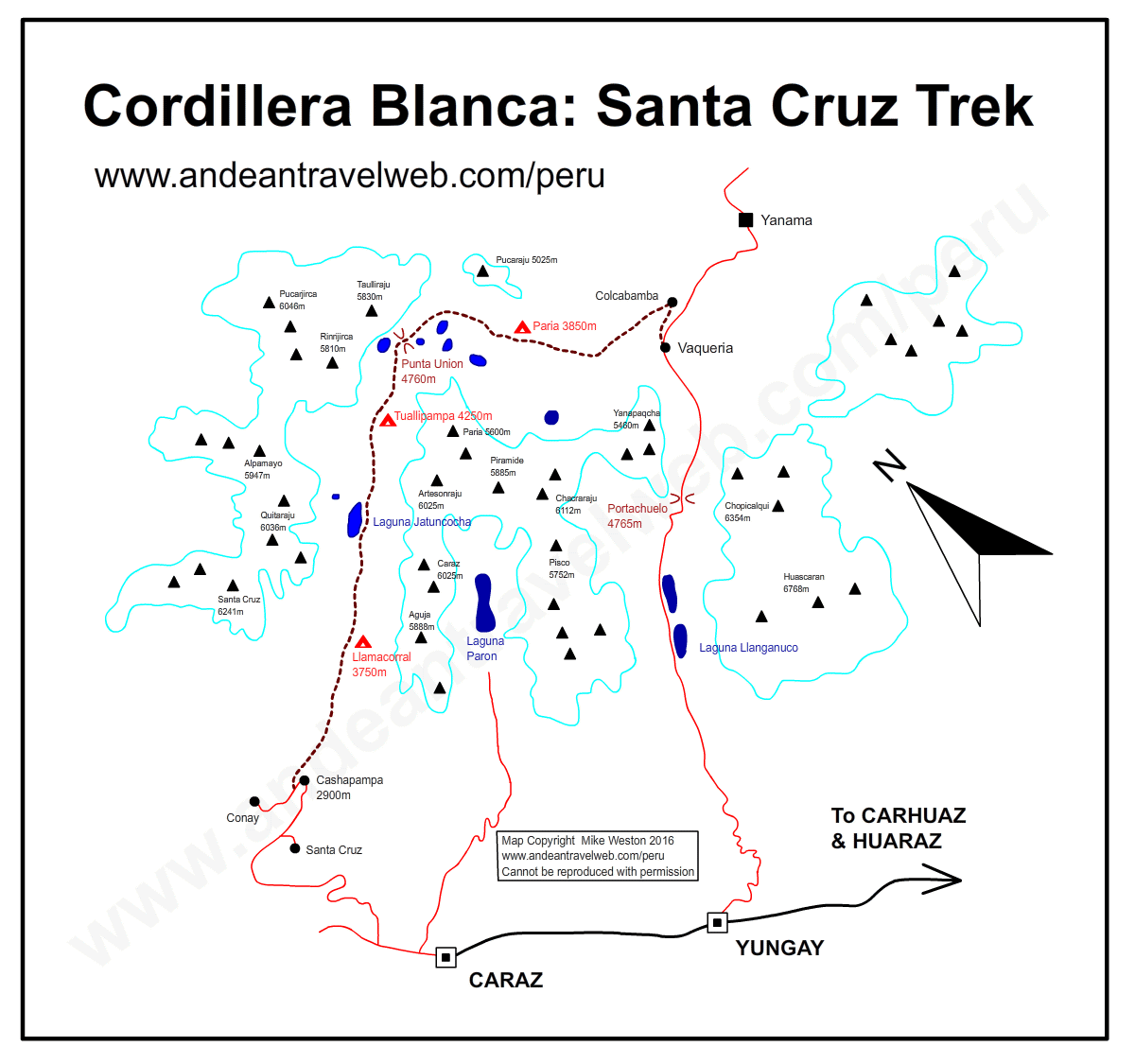 Map of the Santa Cruz Trek, Cordillera Blanca, Huaraz, Peru