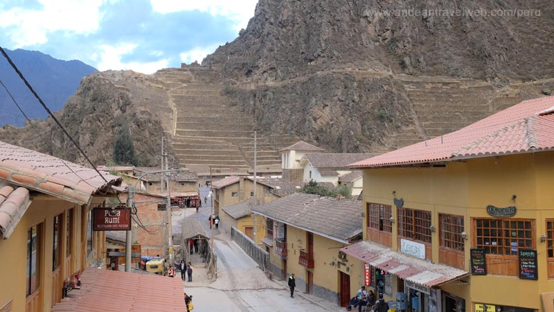 Ollantaytambo town view towards Inca Ruins