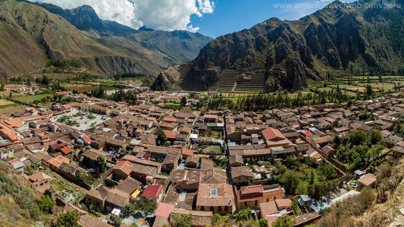 View of Ollantaytambo from the Inca Granaries